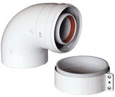 Baxi Отвод 90° коаксиальный ф 60/100 мм, с муфтой, KHG 714101410 - фото 21643