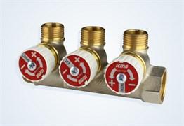 Коллектор Icma  c вентилями регулировочными 3/4 x 1/2  x 3 выхода