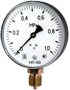 Манометр радиальный ЗТП Минск, размер М 20х1.5, ф 100 мм, 0-25 бар