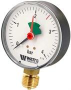 """Манометр радиальный Watts с указателем предела, размер 1/2"""", ф 80 мм, 0-4 бар"""