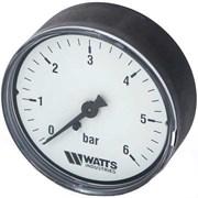 Манометр аксиальный Watts, размер 1/4, ф 50 мм, 0-6 бар