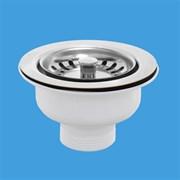 """Выпуск для мойки McALPINE 1 1/2"""" пробка тип кнопка с нержавеющей решеткой D=113мм (MRSKW7CL)"""