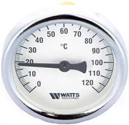 Термометр биметаллический Watts ф 63 мм, гильза 50 мм, t 120 град.