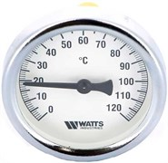 Термометр биметаллический Watts ф 80 мм, гильза 100 мм, t 120 град.