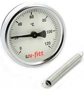 Термометр биметаллический Uni-Fitt ф 63 мм, t 120°, накладной с пружиной