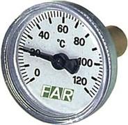 Термометр биметаллический Far ф 40 мм, гильза 36 мм, t 120 град., 3/8