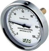Термометр биметаллический Far ф 80 мм, гильза 50 мм, t 120 град., 1/2