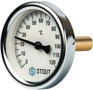 Термометр биметаллический Stout ф 100 мм, гильза 75 мм, t 120 град.