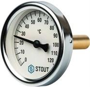 Термометр биметаллический Stout ф 80 мм, гильза 75 мм, t 120 град.