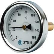 Термометр биметаллический Stout ф 63 мм, гильза 50 мм, t 160°