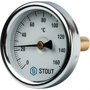 Термометр биметаллический Stout ф 63 мм, гильза 50 мм, t 160 град.