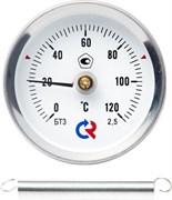 Термометр биметаллический Росма ф 63 мм, t 120°, накладной с пружиной