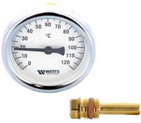 Термометр биметаллический Watts ф 100 мм, гильза 50 мм, t 120 град., резьба с самоуплотнением