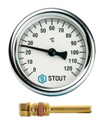 Термометр биметаллический Stout ф 63 мм, гильза 50 мм, t 120 град., резьба с самоуплотнением