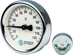 Термометр биметаллический Stout ф 63 мм, t 120°, накладной с пружиной