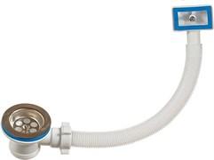 Выпуск для сифона с переливом Орио 1 1/2 с нержавеющей решеткой D=70мм, прямоугольный наконечник (A-4004-01)