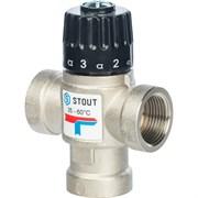 Термостатический смесительный клапан Stout для систем отопления и ГВС 3/4 ВР, 35-60С, Kvs 1.6 м3/ч