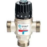 Термостатический смесительный клапан Stout для систем отопления и ГВС 3/4 НР, 20-43С, Kvs 1.6 м3/ч