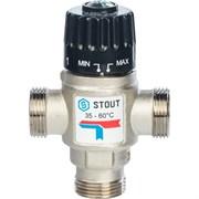 Термостатический смесительный клапан Stout для систем отопления и ГВС 3/4 НР, 35-60С, Kvs 1.6 м3/ч