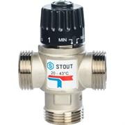 Термостатический смесительный клапан Stout для систем отопления и ГВС 1 НР, 20-43С, Kvs 2.5 м3/ч