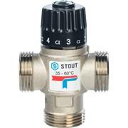 Термостатический смесительный клапан Stout для ситем отопления и ГВС 1 НР, 35-60С, Kvs 2.5 м3/ч