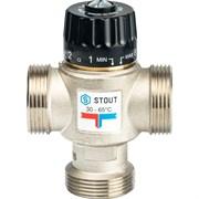 Термостатический смесительный клапан Stout для систем отопления и ГВС 1 1/4 НР, 30-65С, Kvs 3.5, центральное смешивание