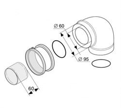 Protherm Колено 90° с фланцем (коаксиальный), ф 60/100 мм - фото 21624
