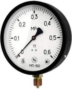 Манометр радиальный ЗТП Минск, размер М 20х1.5, ф 160 мм, 0-10 бар - фото 30652