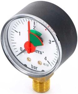 """Манометр радиальный Watts с указателем предела, размер 1/4"""", ф 63 мм, 0-4 бар - фото 30671"""