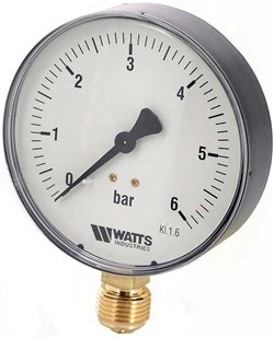 "Манометр радиальный Watts, размер 1/4"", ф 63 мм, 0-6 бар - фото 30863"