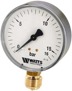 "Манометр радиальный Watts, размер 1/4"", ф 50 мм, 0-16 бар - фото 30892"