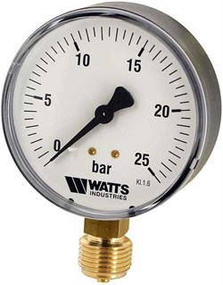 "Манометр радиальный Watts, размер 1/2"", ф 80 мм, 0-25 бар - фото 30941"