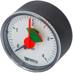 "Манометр аксиальный Watts с указателем предела, размер 1/4"", ф 80 мм, 0-4 бар - фото 30969"