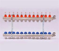 Коллектор для теплого пола Uni-Fitt, латунный, 12 вых - фото 33669