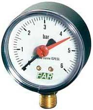 """Манометр радиальный Far с указателем предела, размер 1/4"""", ф 63 мм, 0-4 бар (FA 2500 R04) - фото 52952"""