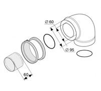 Protherm Колено 90° с фланцем (коаксиальный), ф 60/100 мм