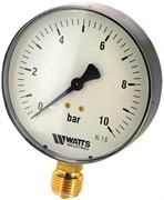 """Манометр радиальный Watts, размер 1/2"""", ф 80 мм, 0-10 бар"""