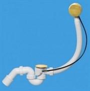 Сифон для ванны полуавтомат пластиковый с фиксатором и коленом цвет золото McALPINE ф40-50 (MRB2G)