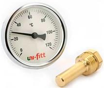 Термометр биметаллический Uni-Fitt ф 63 мм, гильза 50 мм, t 120°
