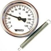 Термометр биметаллический Watts ф 63 мм, t 120°, накладной с пружиной