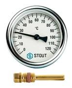 Термометр биметаллический Stout ф 63 мм, гильза 50 мм, t 120°, резьба с самоуплотнением