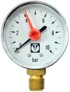 """Манометр радиальный Valtec с указателем предела, размер 1/4"""", ф 50 мм, 0-10 бар"""