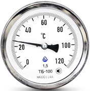 Термометр биметаллический Стеклоприбор ТБ ф 63 мм, гильза 50 мм, кл. 1.5, t 120°