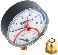 """Термоманометр радиальный Watts (F+R828) 1/2"""", 6 бар, 80 мм, 120°C"""