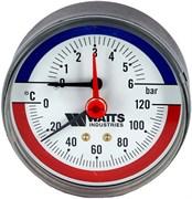 """Термоманометр аксиальный Watts (F+R818) 1/2"""", 6 бар, 80 мм, 120°C"""