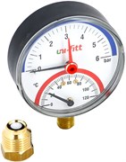 """Термоманометр радиальный Uni-Fitt 1/2"""", 10 бар, 80 мм"""