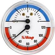 """Термоманометр аксиальный Itap 1/2"""", 4 бар, 63 мм, 120°C (арт. 485)"""