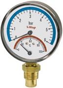 """Термоманометр радиальный Itap 1/2"""", 6 бар, 80 мм, 120°C (арт. 484)"""