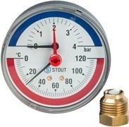 """Термоманометр аксиальный Stout 1/2"""", 10 бар, 80 мм, 120°C"""