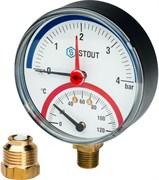 "Термоманометр радиальный Stout 1/2"", 6 бар, 80 мм, 120°C"